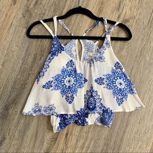 Blue and White Greek inspired Crop Top